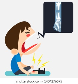 Vector illustration, Tiny cute man character broken his right leg by falling and show leg x-ray