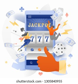 Vector illustration of tiny people caracters over mobile phone with a jackpot 777 lottery casino on a screen. Virtual slot machine, gaming, and gambling concept.