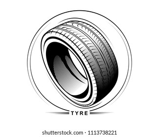 Vector illustration of tire on white background