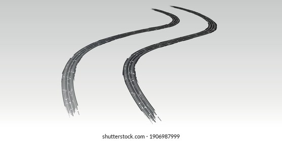 Vector illustration. Tire tracks in persective, grunge.