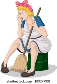 Vector illustration of a tired cleaning lady sitting on a bucket.