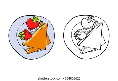 Vector Illustration of toast with strawberries. Hand drawn coloring page