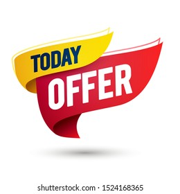 Vector illustration today offer, sale template on waving flag, web banner designs