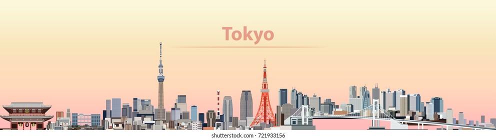 vector illustration of Tokyo city skyline at sunrise