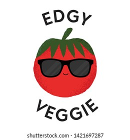 Vector illustration of a tomato character wearing sunglasses with the funny pun 'Edgy Veggie'. Cheeky T-Shirt design concept.