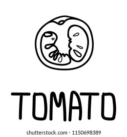 Vector illustration of the tomato slice, hand-drawn only in black outline placed with hand-drawn lettering.