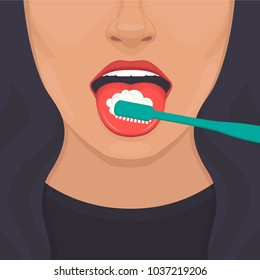 vector illustration of tongue hygiene, brush and toothbrush . dental care. white teeth clean