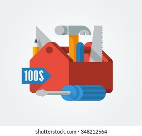 vector illustration of a toolbox with tools
