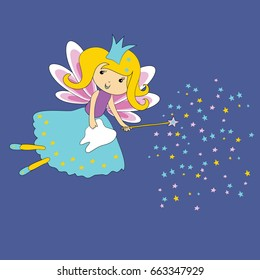 Vector illustration of Tooth fairy with magic wand and stars on blue background. First tooth certificate.