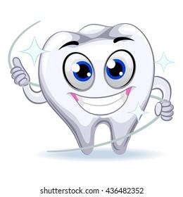 Vector Illustration of Tooth Mascot holding Dental Floss