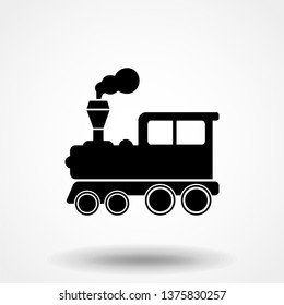 Vector illustration of a tooth of a steam locomotive. Train symbol. Simple flat symbol. Perfect Black pictogram illustration on white background.