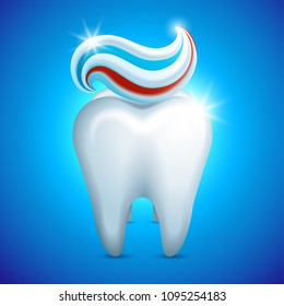 Vector illustration - tooth whith toothpaste, dental care concept