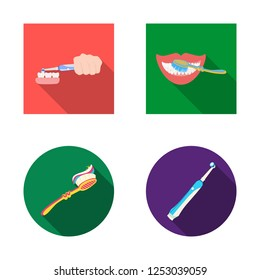 Vector illustration of toothpaste and brush symbol. Set of toothpaste and clean stock vector illustration.