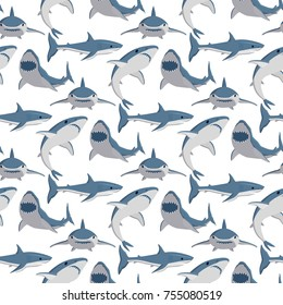 Vector illustration toothy swimming angry shark. Animal sea fish character underwater cute marine wildlife mascot seamless pattern background. Scary evil monster predator.