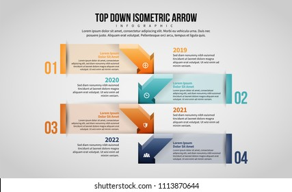 Vector illustration of Top Down Isometric Arrow Infographic design element.