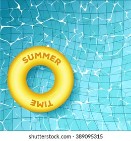 """Vector illustration of top view of open pool with rubber ring. Title """"Summer Time"""". Pool with clear blue water with rubber surface."""