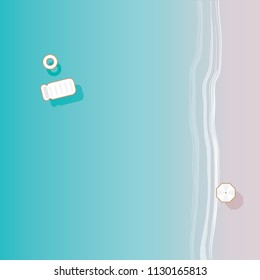 Vector illustration in top view perspective of a beautiful blue ocean and sandy shore with white beach umbrella and inflatable mattress