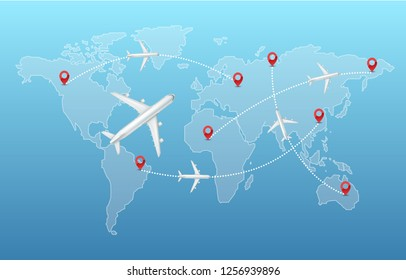Vector illustration of top view white airplanes with infographics elements destination icon, trajectory and world map isolated on background