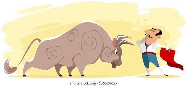 Vector illustration of toreador and bull on the arena