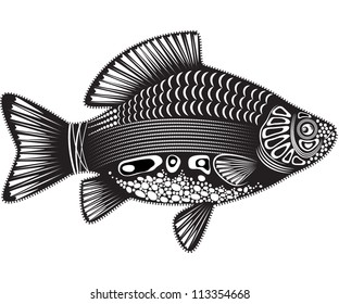 Vector illustration of a totem animal - Fish