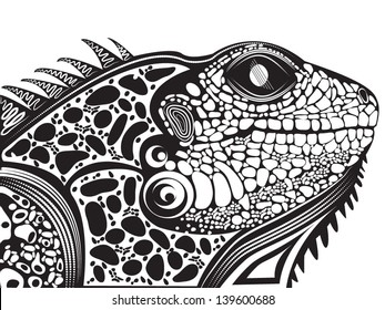 Vector illustration of a totem tattoo animal - Lizard Head