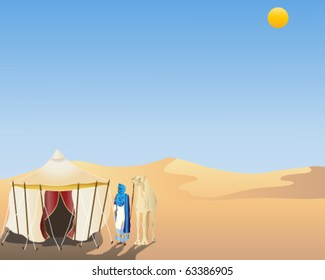 vector illustration of a touareg man and his camel standing by a traditional nomads tent in the arabian desert in eps10 format