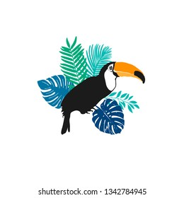 Vector illustration - Toucan, exotic birds, tropical flowers, palm leaves, bird of paradise
