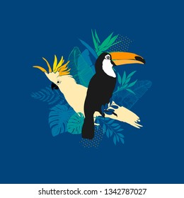 Vector illustration - Toucan, parrot, exotic birds, tropical flowers, palm leaves, bird of paradise
