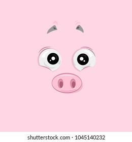Vector illustration of the touched pig face on pink background.