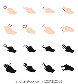 Vector illustration of touchscreen and hand logo. Collection of touchscreen and touch stock vector illustration.