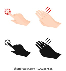 Vector illustration of touchscreen and hand symbol. Collection of touchscreen and touch vector icon for stock.