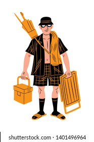 Vector illustration of a tourist carrying an umbrella, a folding chair, a towel and a cooler, cartoon style.
