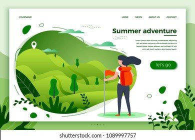 Vector illustration -  tourist girl looking on mountain to climb. Forests, trees and hills on green background. Banner, site, poster template with place for your text.
