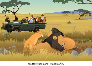 A vector illustration of Tourist on African Safari Trip