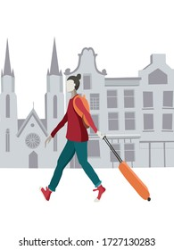 Vector illustration of a tourist walking with his luggage in an Europe city. Grey architecture background