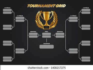 Vector illustration, tournament grid, Cup system, gold Cup with gold wreath winner