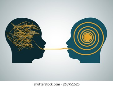 Vector illustration tow silhouette profile heads face to face, one with scribbling and second with accurate right maze, labyrinth. Talking, decoding and understanding process problems concept, symbol