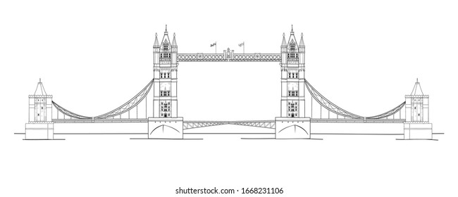 Vector illustration of the Tower Bridge in black and white sketch style
