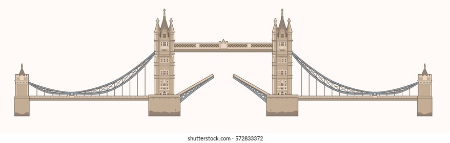 Vector Illustration of the Tower Bridge in London