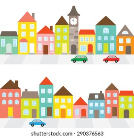 Vector illustration of a town scene with row of houses along the street and cars.