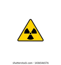 Vector illustration toxic sign, symbol. Warning radioactive zone in triangle icon isolated on white background. Radioactivity. Dangerous radiation area symbol. Chemistry poison plane mark