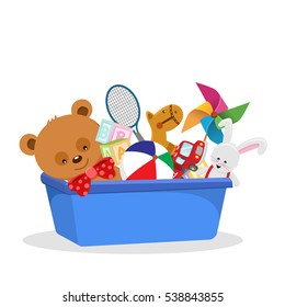Vector Illustration Of A Toy Box With Various Toys