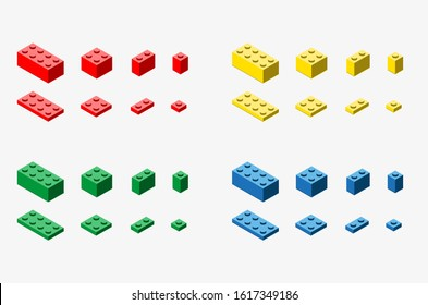 A vector illustration of of toy bricks in red, yellow, blue and green colors on white background