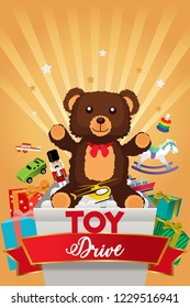 A vector illustration of Toy Drive Brochure