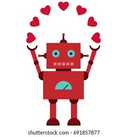 Vector illustration of a toy Robot with with hearts
