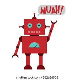 Vector illustration of a toy Robot with text MUAH!