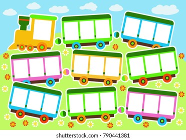 Vector illustration of a toy train,  cartoon train, background for greeting cards, children's album or photo