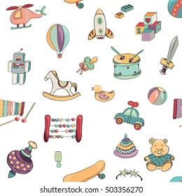 Vector illustration of toys seamless pattern