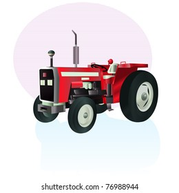 Vector illustration, tractor icon, card concept, white background.