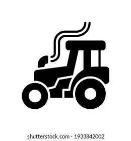 Vector illustration of tractor icon. Simple tractor with glyph design style